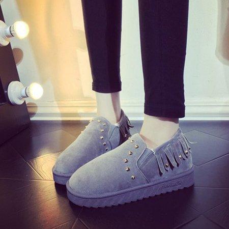 Fringed Faux Suede Rivets Fleece Lined Platform Loafers