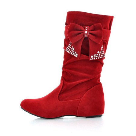 Faux Suede Rhinestone Bowknot Knee Boots
