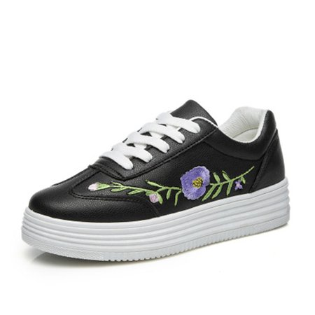 Flower Embroidered Lace Up PU Platform Sneakers