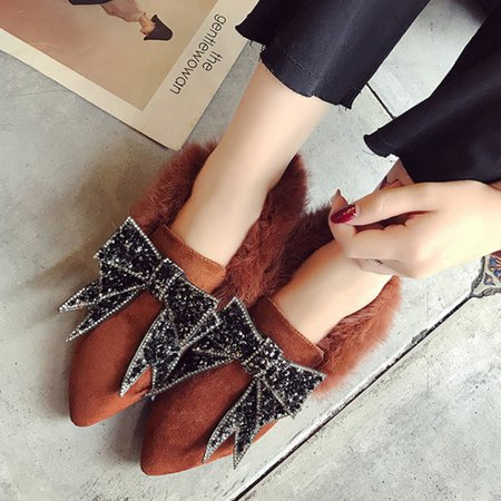 Rhinestone Faux Suede Fuzzy Bowknot Loafers