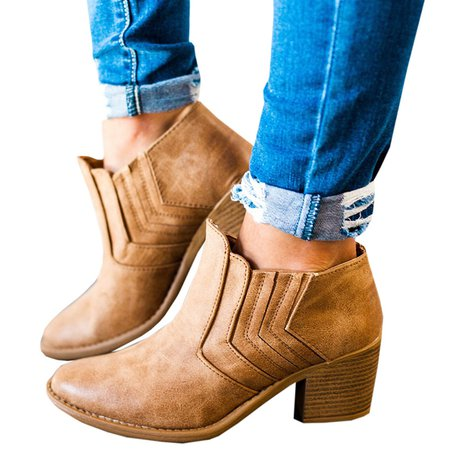 Women Large Size Booties Casual PU Chunky Heel Shoes