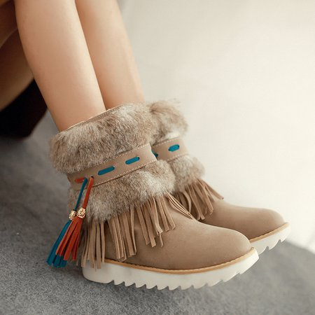Fringed Faux Suede Tassel Fuzzy Non Slip Platform Boots