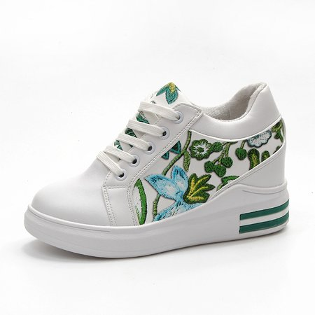 Flower Embroidered Lace-up Wedge Heel PU Sneakers