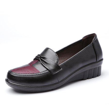 Non Slip Bowknot Casual Slip On PU Loafers