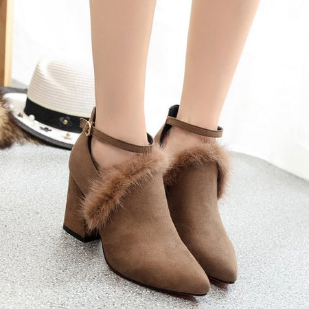 Buckle Strap Faux Suede Chunky Heel Fuzzy Boots
