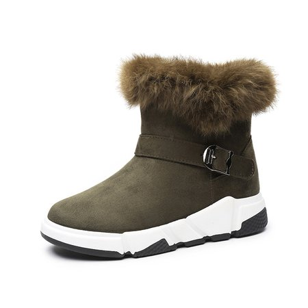 Fuzzy Buckle Faux Suede Platform Outdoor Boots