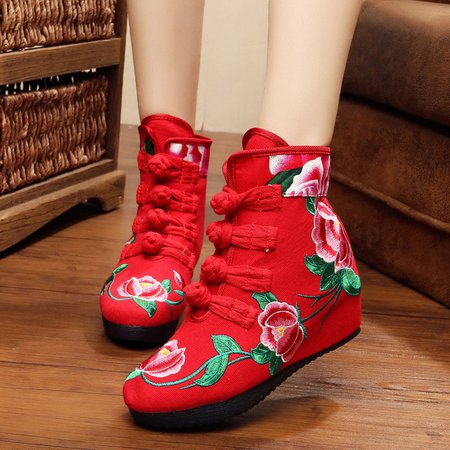 Chinese Style Wedge Heel Flower Embroidered Button Boots