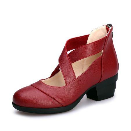 Women Dance Shoes Low Heel Faux Leather Pumps