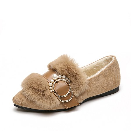 Pearls Buckle Fuzzy Faux Suede Flats