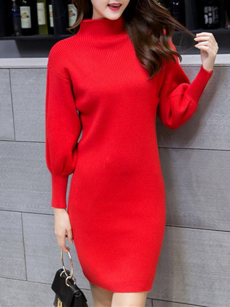 Women Elegant Dress Turtleneck Sheath Daily Balloon Sleeve Solid Dress