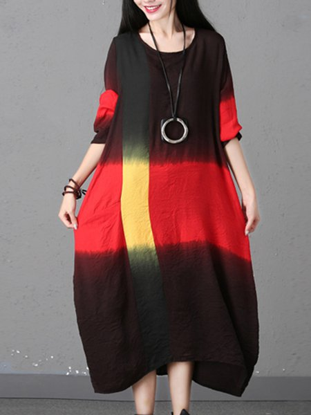 Crew Neck Ombre/Tie-Dye Cotton and Line Vintage Color-block Long Cocoon Dress