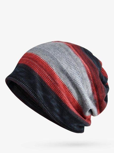 Unisex Stripes Contrast Color Fleece Dual Use Scarf Beanie Hat