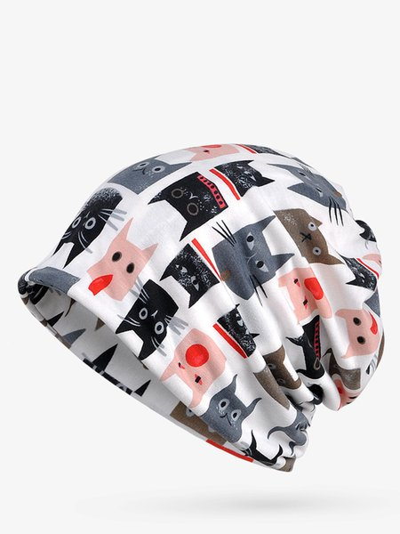 Multicolor Animals Street Fleece Dual Use Scarf Beanie Hat