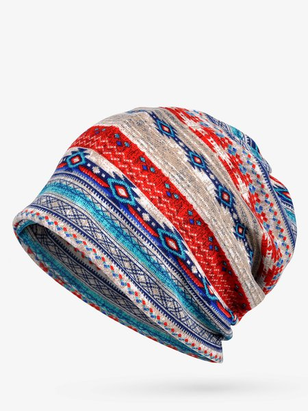 Fleece Dual Use Scarf Beanie Vintage Tribal Hat