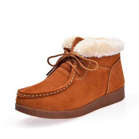 Lace-up Outdoor Faux Suede Fleece Lined Platform Boots
