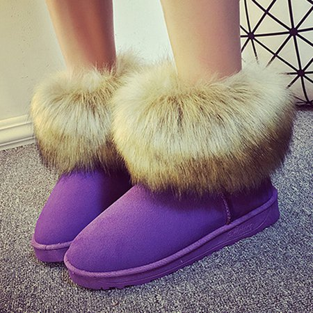 Outdoor Fuzzy Non Slip Faux Suede Snow Boots