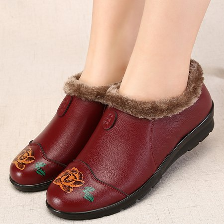 Floral Print Waterproof Non Slip Fleece Lined PU Boots
