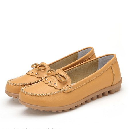 Genuine Leather Bowknot Rivets Non Slip Flats