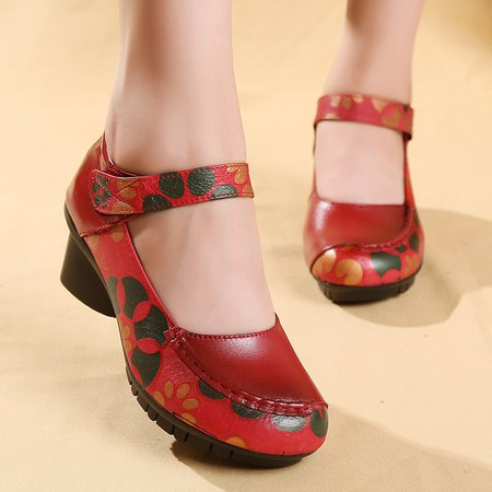 Floral Print Magic Tape Genuine Leather Low Heel Sandals