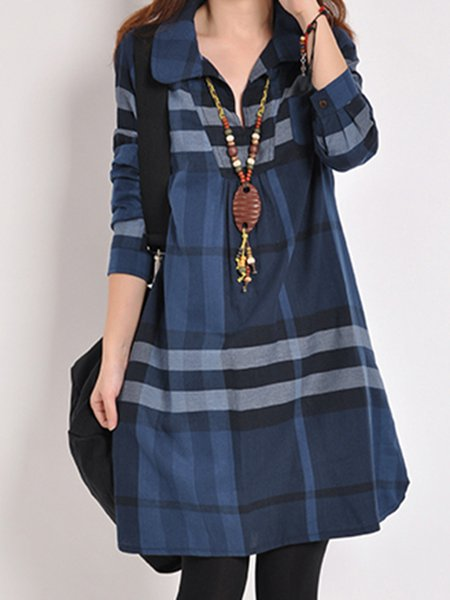 S Fashion Plaid Dress