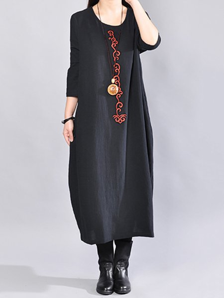 Long Sleeve Casual Embroidered Cotton Crew Neck H-line Casual Dress