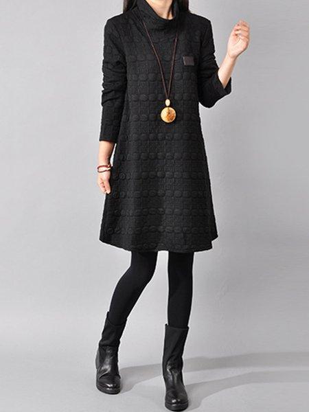 Women Casual Dress Shift Embossed Plain Dress