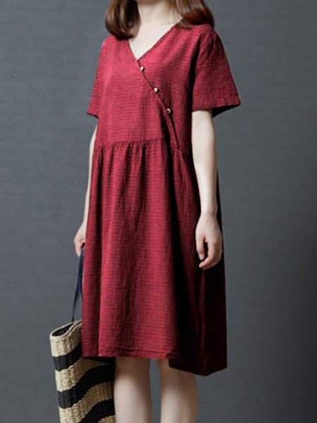 Red Pockets A-line Casual Checkered/Plaid Casual Dress