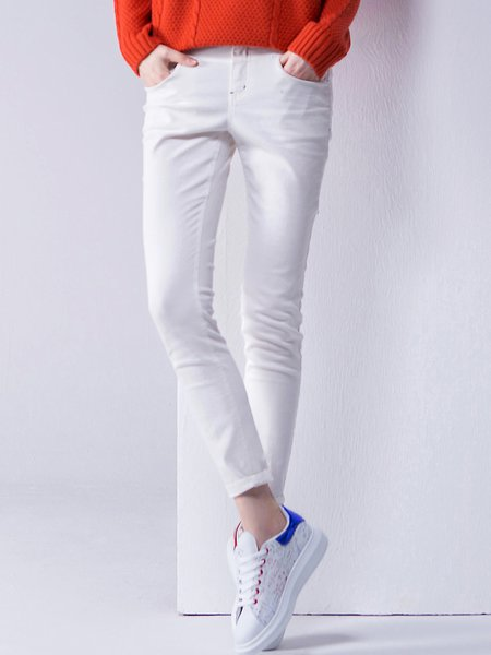 White Casual Cotton Pockets Pant