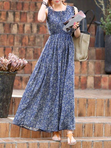 Navy Blue Women Print Dress Keyhole Beach Sleeveless Printed Dress