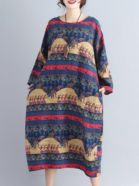 Ethnic Style Vintage Printed Contrast Color Cotton Linen Dress