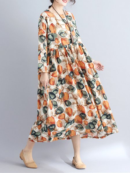 Floral Printed Swing Casual Loose Crew Neck Dress