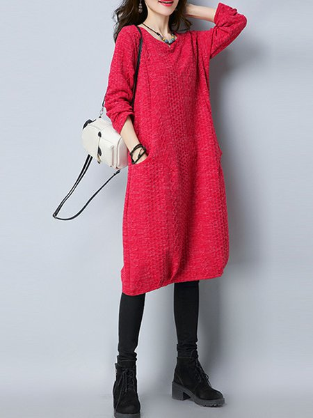 Long Sleeve Jacquard H-line Cotton Linen Dress
