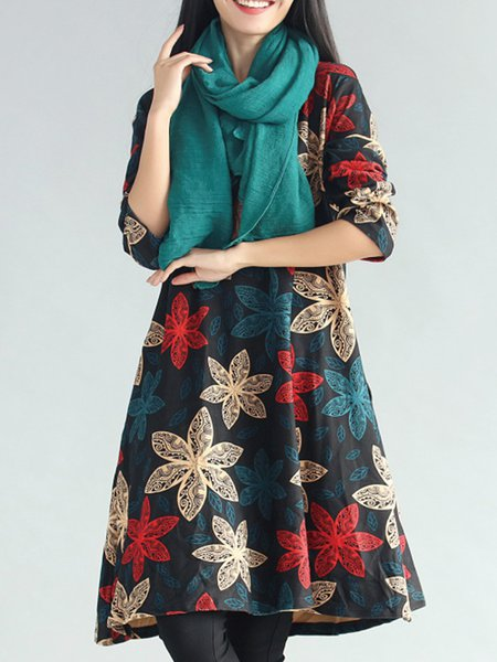 Retro Floral Printed Sweet Long Sleeve Dress