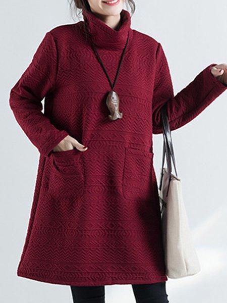 Fashionable Embossed Turtleneck Long Sleeve Dress