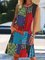 Flower Holiday Printed Abstract Cotton-Blend Dresses