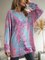 Pink Long Sleeve Ombre/tie-Dye Cotton-Blend Dresses