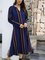 Blue Long Sleeve Cotton-Blend V Neck Dresses