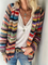 Plus size Long Sleeve Casual Striped Outerwear