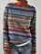 Plus size Casual Long Sleeve Striped Shirts & Tops