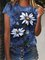 Crew Neck Short Sleeve Floral Canvas Daisy Acrylic Paintings Print Casual Shirts & Tops
