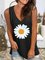 Floral-print Casual V-Neck Sleeveless Black Vests