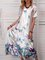 Women Butterfly Caftan V-Neck Holiday Maxi Dresses