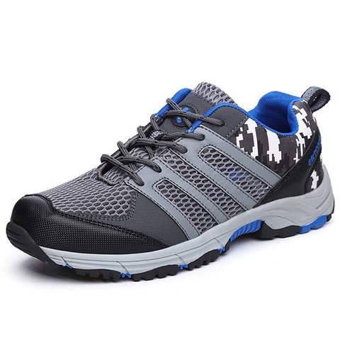 Men Mesh Splicing Breathale Outdoor Slip Resistant Hiking Shoes