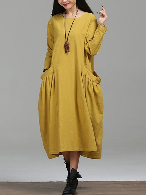 Yellow Daily Cocoon Basic Dress Casual Women Solid Long Paneled Sleeve Linen rTrqPwE