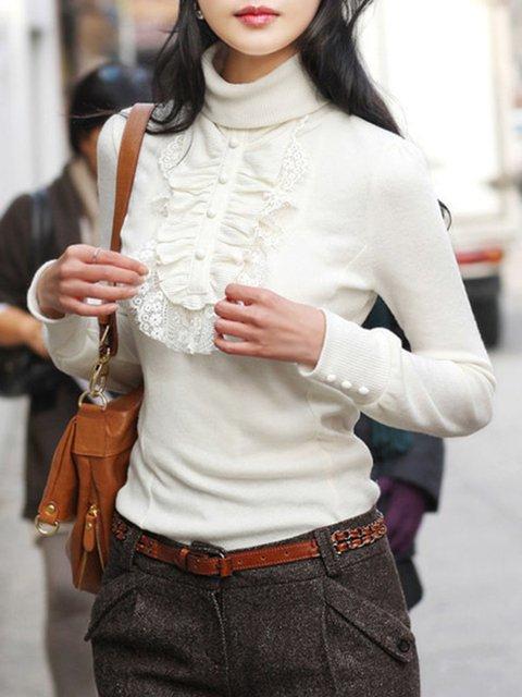 High Neck  Decorative Buttons Decorative Lace  Plain Pullover