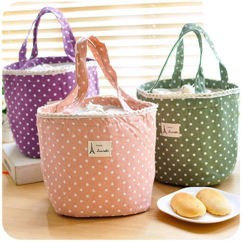 Casual Cotton Portable Lunch Bag Point Heat Retaining Storage Bucket Bag