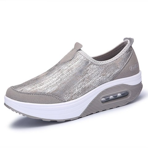 Comfortable Rocker Sole Slip On Shake Casual Shoes