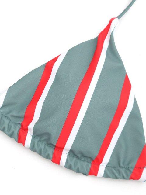 c672a74697e9f Stripes Printed Halter Wireless Padded Bralette Bikini ...