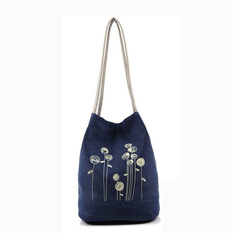 Women Canvas Printed Casual Large Capacity Handbag Shoulder Bags