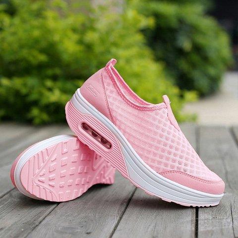 072e66812dc2 Big Size Mesh Breathable Rocker Sole Platform Sport Shoes ...